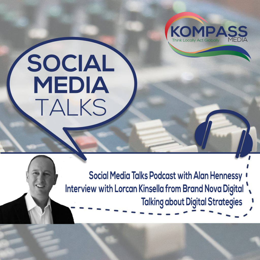 poster for SocialMediaTalks podcast featuring Lorcan Kinsella interview about Digital Strategy