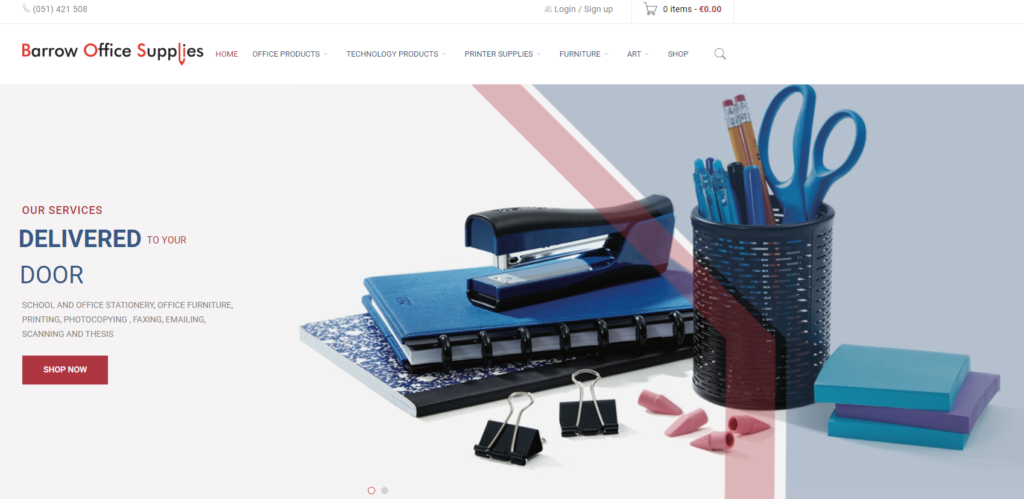 a preview of the Barrow Office Supplies ecommerce website design
